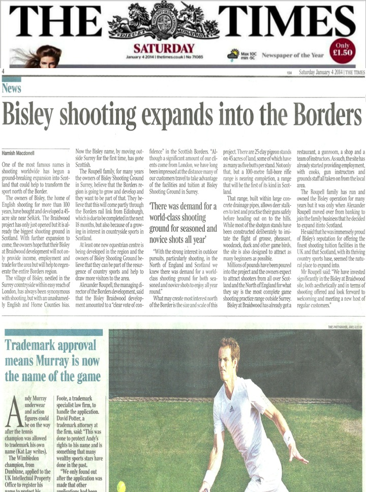 Bisley Shooting expands to the Borders - The Times on Saturday