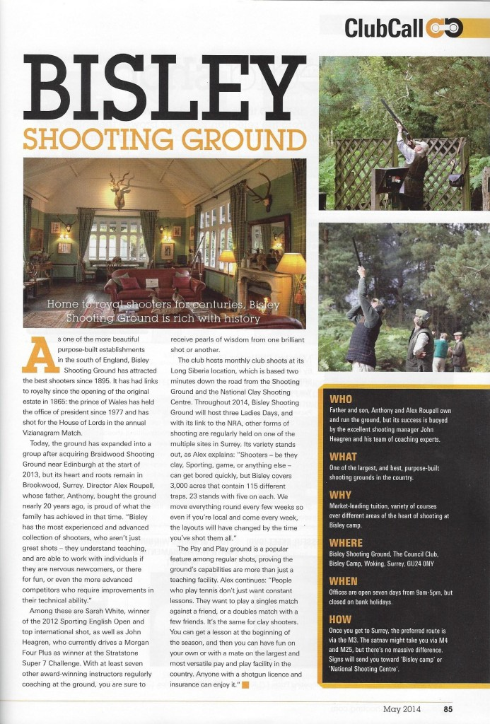 Clay Shooter May 2014 - Bisley Shooting Ground