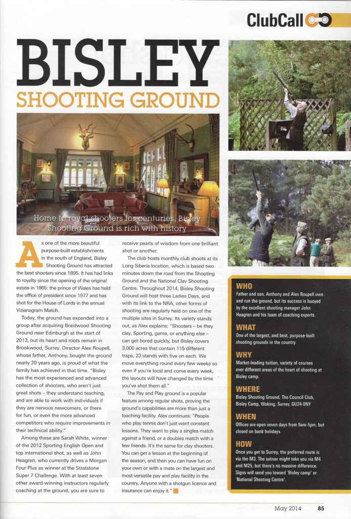 Clay Shooter May 2014 - Bisley Shooting Ground